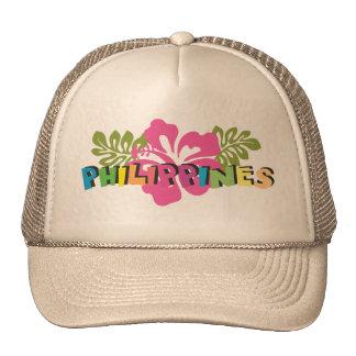 Philippines on Tropical Hibiscus Flowers Cap