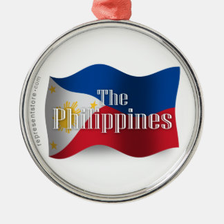 Philippines Waving Flag Silver-Colored Round Decoration