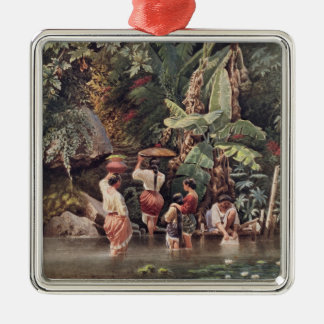 Philippino Women Washing Beneath a Banana Tree, 18 Silver-Colored Square Decoration