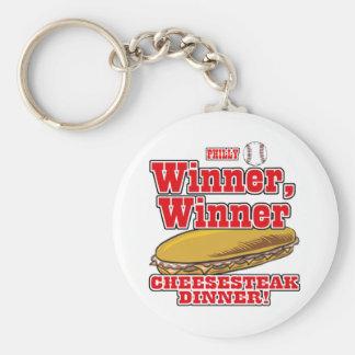 Philly Baseball Winner Winner Cheesesteak Dinner Basic Round Button Key Ring