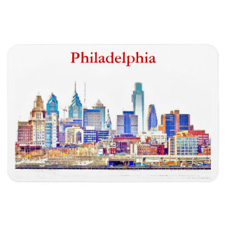 Philly Color Sketch Skyline Premium Magnet