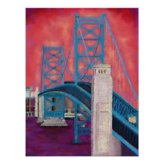 Philly Impressions (Ben Franklin Bridge at Dusk) Poster