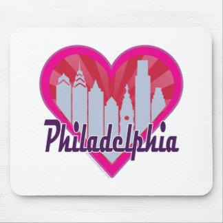 Philly Skyline Sunburst Heart Mousepads