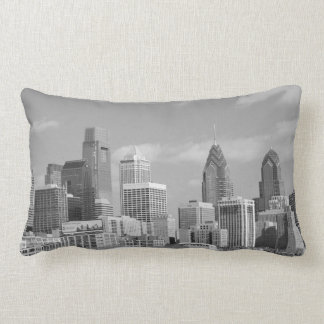 Philly skyscrapers black and white pillow