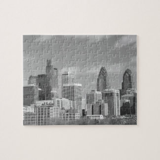 Philly skyscrapers black and white jigsaw puzzle