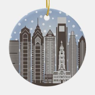 Philly Snowflakes Round Ceramic Decoration