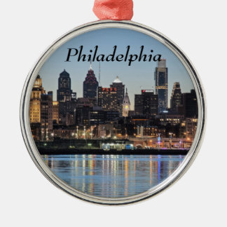 Philly sunset metal ornament