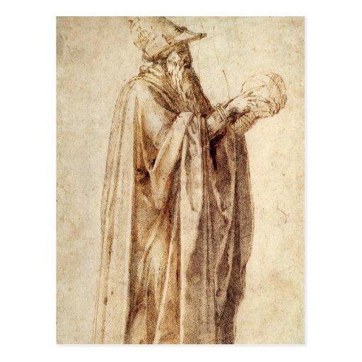 Philosopher by Michelangelo, Vintage Renaissance Post Cards