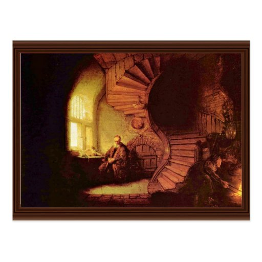 Philosopher In Meditation. By Rembrandt Van Rijn Post Card