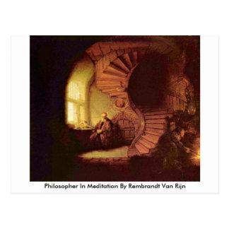 Philosopher In Meditation By Rembrandt Van Rijn Postcard