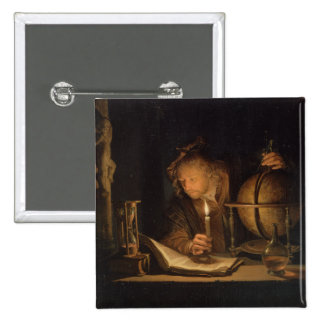Philosopher Studying by Candlelight 15 Cm Square Badge