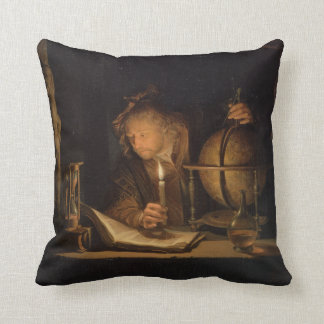Philosopher Studying by Candlelight Cushion
