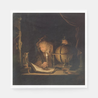 Philosopher Studying by Candlelight Disposable Napkins