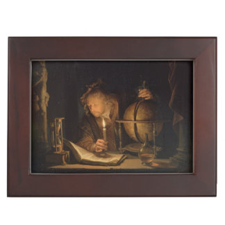 Philosopher Studying by Candlelight Memory Box