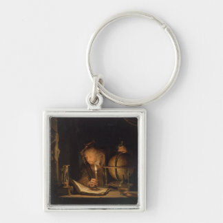 Philosopher Studying by Candlelight Silver-Colored Square Key Ring