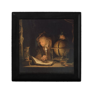 Philosopher Studying by Candlelight Small Square Gift Box