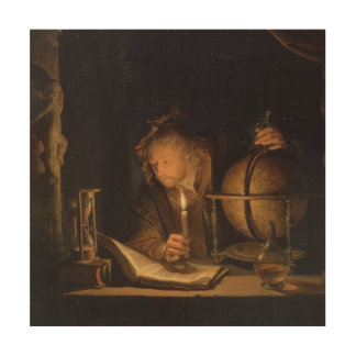 Philosopher Studying by Candlelight Wood Print