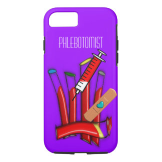 Phlebotomist iPhone 7 case Blood Tubes Art Purple