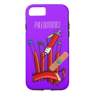 Phlebotomist iPhone 7 case Blood Tubes Art Purple
