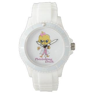 Phlebotomy Chick Watch White