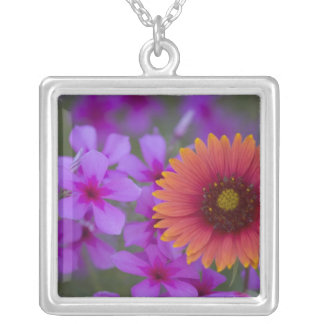 Phlox and Indian Blanket near Devine Texas Square Pendant Necklace