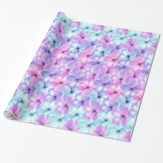 Phlox Pastel Lavender & Aqua Blue Flowers floral Wrapping Paper