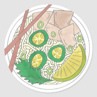 PHO Vietnamese Food Chicken Noodle Soup Chopsticks Classic Round Sticker