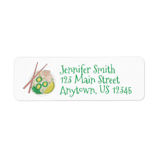 PHO Vietnamese Food Chicken Noodle Soup Chopsticks Return Address Label