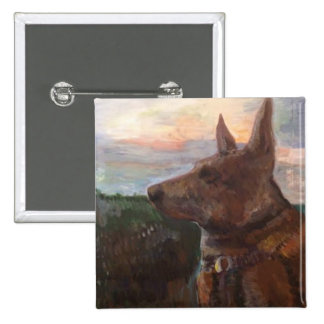 """""""Phoebe Dog in the Sunset"""" painting on a button"""
