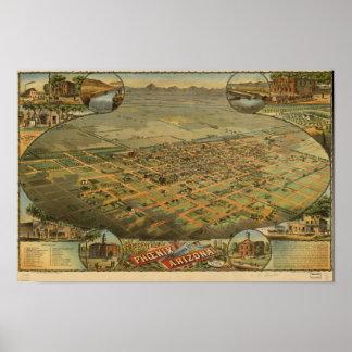 Phoenix Arizona 1885 Panoramic Map Poster