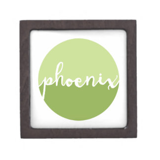 Phoenix, Arizona | Green Ombre Circle Premium Keepsake Box