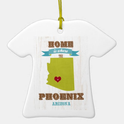Phoenix, Arizona Map – Home Is Where The Heart Is Christmas Tree Ornament