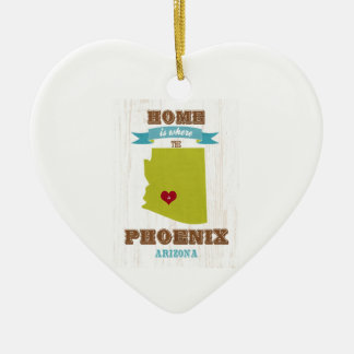 Phoenix, Arizona Map – Home Is Where The Heart Is Double-Sided Heart Ceramic Christmas Ornament