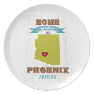 Phoenix, Arizona Map – Home Is Where The Heart Is Dinner Plate