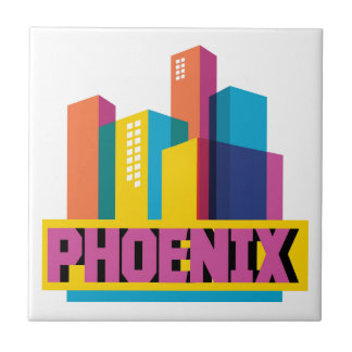 Phoenix, Arizona | Neon Skyline Ceramic Tile