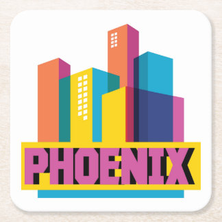 Phoenix, Arizona | Neon Skyline Square Paper Coaster