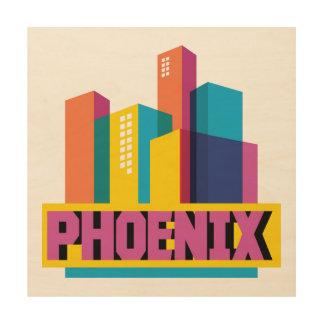 Phoenix, Arizona | Neon Skyline Wood Print