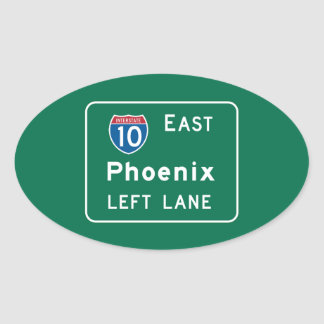 Phoenix, AZ Road Sign Oval Sticker