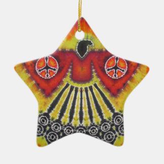 Phoenix Bird Peace Signs Tie Dye Ceramic Ornament