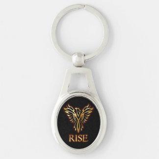 Phoenix Bird Rise Oval Keychain