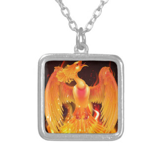Phoenix Bird Rising From Ashes Silver Plated Necklace