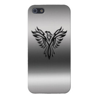 Phoenix, black on brushed steel effect iPhone 5/5S cases