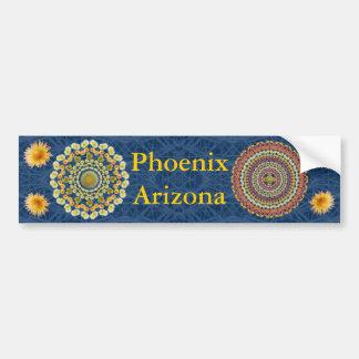 Phoenix Bumper Sticker with Barrel Cactus Mandalas Car Bumper Sticker