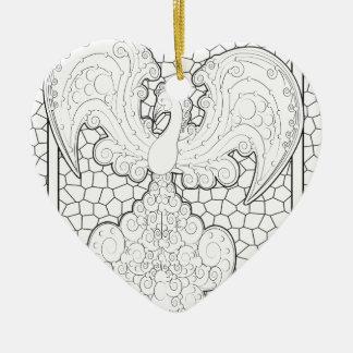 Phoenix Ceramic Heart Decoration