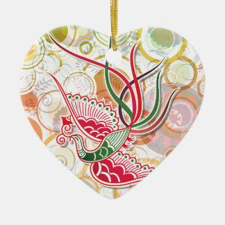 Phoenix Colorful Pattern Ceramic Heart Decoration