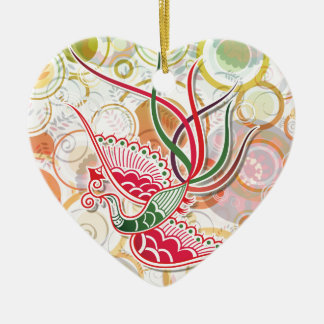 Phoenix Colorful Pattern Double-Sided Heart Ceramic Christmas Ornament