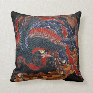 Phoenix (Firebird Goddess) Hokusai Fine Art Throw Pillow