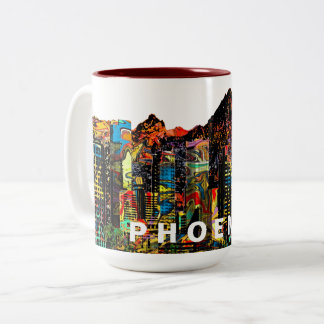 Phoenix in graffiti Two-Tone coffee mug