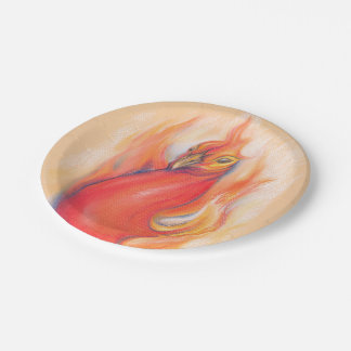 Phoenix in the Flames Pastel Art Paper Plate