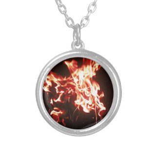 Phoenix rising silver plated necklace